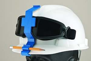 The Goggle Guard® clip attaches to a hard hat without compromising the integrity of the hard hat.